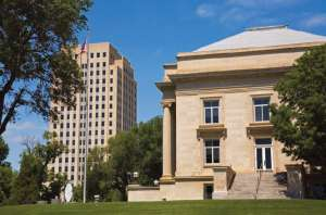 The State Library and Capitol Tower are commanding features of North Dakota's Capitol Complex located in Bismarck.