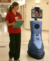 To accomplish examinations and consultations, the robot's head pans and tilts, giving the doctor a complete view of his surroundings. The robot's camera, monitor/display, microphone and speaker extend the doctor's natural senses while ensuring that the doctor is seen and heard, as well.