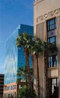 The U.S. District Courthouse in El Paso rises among the diverse modern and traditional architecture of the city.