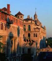 """Built between 1902 and 1932, and now considered to be Riverside's """"symbol,"""" the Mission Inn is a masterpiece mixture of Mission and Spanish Revival, Moorish, and Asian architectural styles."""
