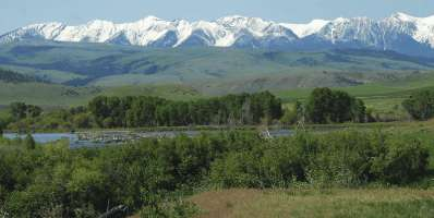 """Near Big Timber, Montana are the Crazy Mountains. The Yellowstone River is in the foreground. The movie, """"The Horse Whisperer"""" was filmed in this area."""