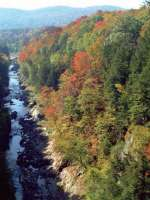 Looking down onto Quechee Gorge (known as Vermont's Little Grand Canyon) from Vermont's oldest standing steel arch bridge on Route 4, which spans the 165-foot chasm.